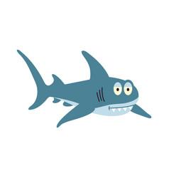 Cute flat shark cartoon vector