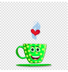 cute green cartoon cup with yellow polka dots vector image