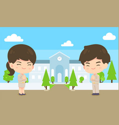 cute man and woman cartoon government employee on vector image