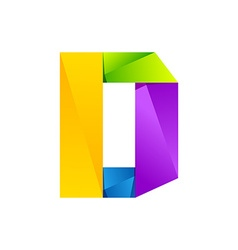 D letter one line colorful logo design template vector image