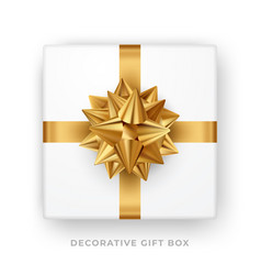 decorative white gift box with golden bow and vector image
