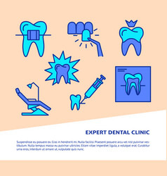 dental clinic banner template in colored line vector image