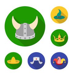 Different kinds of hats flat icons in set vector