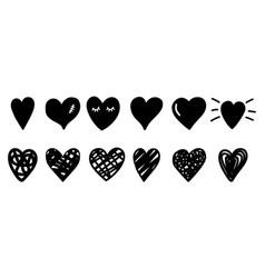 doodle sketch hearts vector image