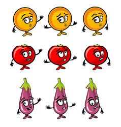 eggplant tomato orange cartoon smiles surprised vector image