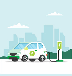 electric car charging with city background vector image