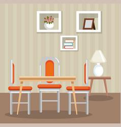 Elegant dinning room scene vector
