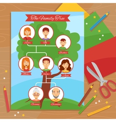 Family Tree Creative Handwork Flat Poster vector