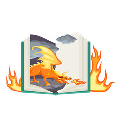 Fantasy book open fairy tail with fantasy vector
