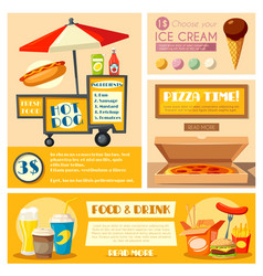 Fast food vendor menu poster banner vector
