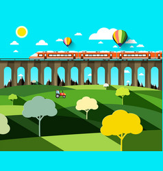 flat design landscape with modern train on high vector image