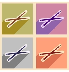 Flat with shadow concept chopsticks stylish vector