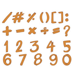 font design for numbers and signs in brown vector image