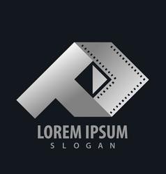 Geometric movie ribbon media play logo concept vector