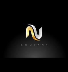gold n logo n letter icon design vector image