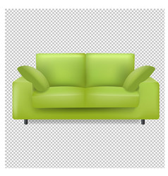 green sofa and pillows isolated transparent vector image