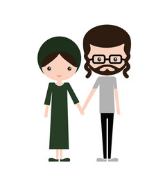 happy jewish couple in traditional design clothes vector image