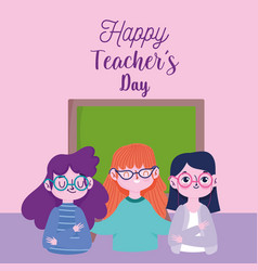 happy teachers day teacher characters cartoon vector image