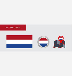 Horizontal dutch flag is isolated in official vector