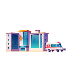 hospital building and ambulance car vector image