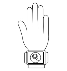 humand hand wearing square watch with media icon vector image