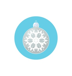 Icon Silver Ball with Snowflake vector image