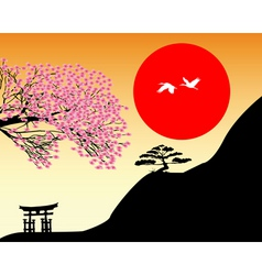 Japanese landscape vector image vector image
