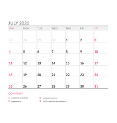 July 2021 monthly calendar planner printable vector