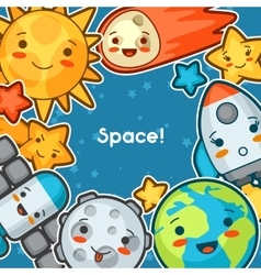 Kawaii space background Doodles with pretty vector