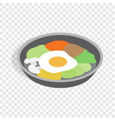 Korean dish bibimbap isometric icon vector