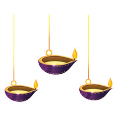Lanterns oil candles hanging vector