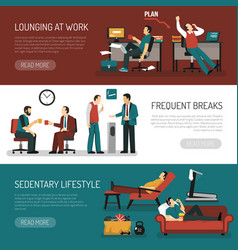 lazy people banners set vector image