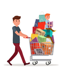 Man with full shopping basket of food vector