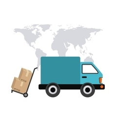 map truck and package icon Delivery and Shipping vector image