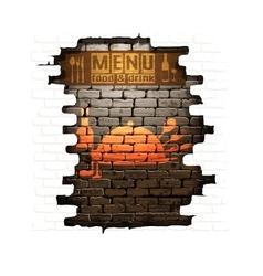 Menu brick wall frame wooden boards vector