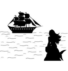 mermaid siren ship silhouette ancient mythology vector image