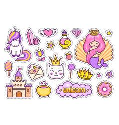 mermaid with pink hair magic unicorn kitten vector image