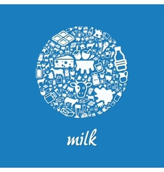 milk icons in circle vector image