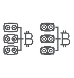 Mining hardware line and glyph icon money vector