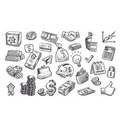 money sketch hand drawn financial elements in vector image