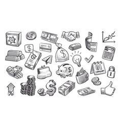 money sketch hand drawn financial elements vector image
