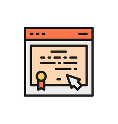 online certificate web diploma e-learning flat vector image