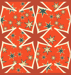 Orange seamless stars pattern print vector