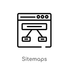 Outline sitemaps icon isolated black simple line vector