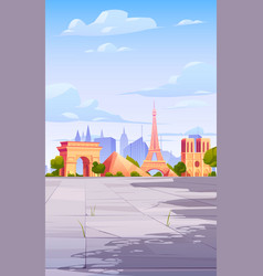 paris landmarks france city skyline background vector image