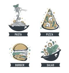 Pasta pizza salad and burger hand drawn sketch vector
