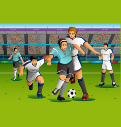 people playing soccer in the competition vector image