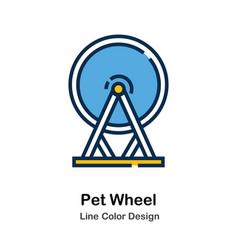 Pet wheel line color icon vector