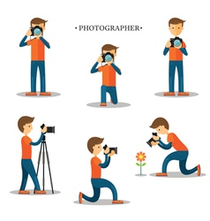 Photographer with Camera in Action Set vector