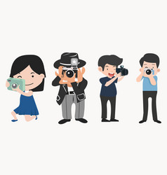 photographers with cameras in different poses vector image